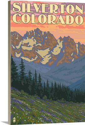 Silverton, Colorado - Spring Flowers: Retro Travel Poster
