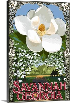 Single White Magnolia - Savannah, Georgia: Retro Travel Poster