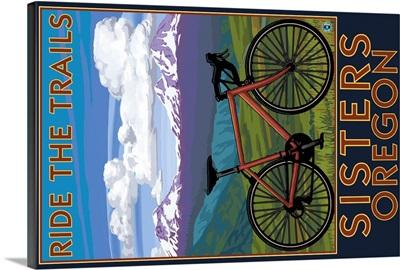 Sisters, Oregon - Mountain Bike: Retro Travel Poster