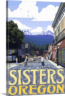 Sisters, Oregon - Town Scene and Mountains Quilt Design: Retro Travel Poster