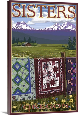 Sisters, Oregon View with Quilts on Fence: Retro Travel Poster
