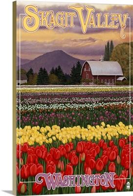 Skagit Valley - Tulip Fields: Retro Travel Poster