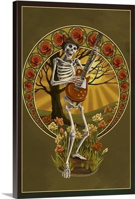 Skeleton and Guitar: Retro Travel Poster