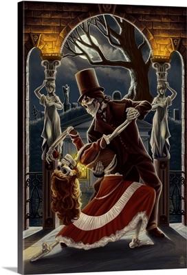 Skeletons Dancing in Graveyard: Retro Travel Poster