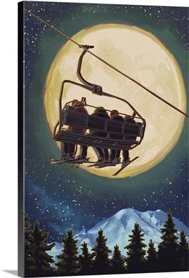 Ski Lift and Full Moon: Retro Poster Art
