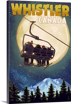 Ski Lift and Full Moon - Whistler, Canada: Retro Travel Poster
