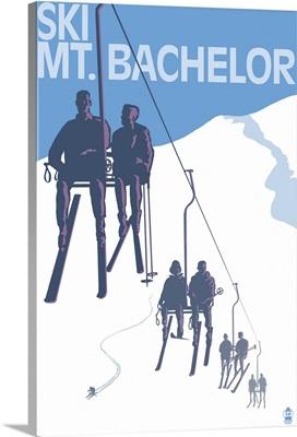 Ski Mt. Bachelor, Oregon - Ski Lifts: Retro Travel Poster