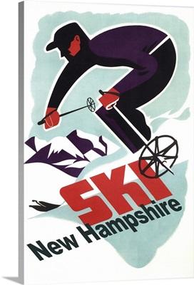 Ski New Hampshire - Retro Skier: Retro Travel Poster