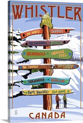 Ski Runs Signpost - Whistler, Canada: Retro Travel Poster