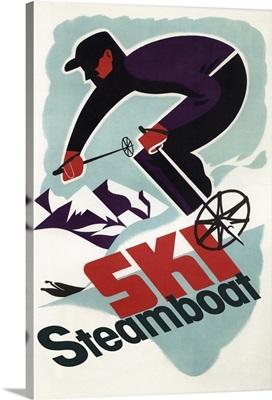 Ski Steamboat Springs, CO - Vintage Travel Poster: Retro Travel Poster