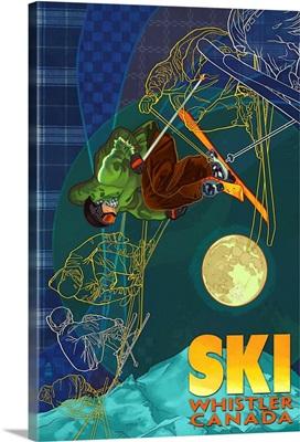 Ski Time Lapse - Whistler, Canada: Retro Travel Poster