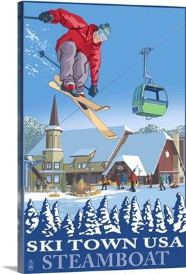 Ski Town USA - Steamboat, Colorado: Retro Travel Poster