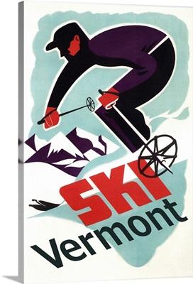 Ski Vermont - Retro Skier: Retro Travel Poster