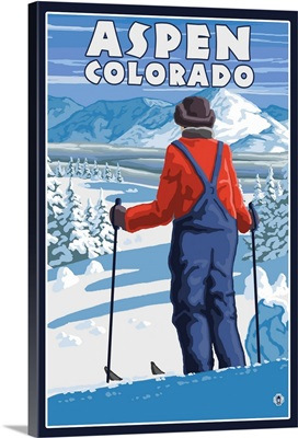 Skier Admiring - Aspen, Colorado: Retro Travel Poster