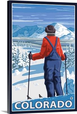 Skier Admiring - Colorado: Retro Travel Poster