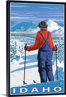 Skier Admiring - Idaho: Retro Travel Poster