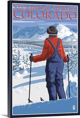 Skier Admiring - Steamboat Springs, Colorado: Retro Travel Poster