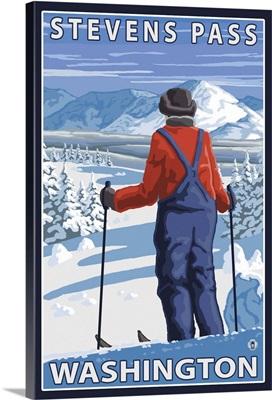 Skier Admiring - Stevens Pass, Washington: Retro Travel Poster
