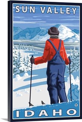 Skier Admiring - Sun Valley, Idaho: Retro Travel Poster
