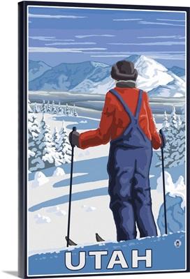 Skier Admiring - Utah: Retro Travel Poster