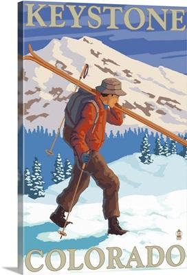 Skier Carrying - Keystone, Colorado: Retro Travel Poster