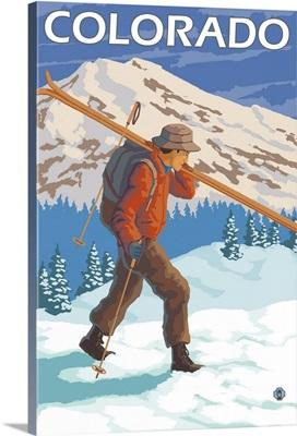 Skier Carrying Skis - Colorado: Retro Travel Poster