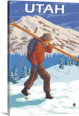 Skier Carrying Skis - Utah: Retro Travel Poster