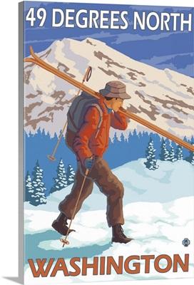 Skier Carrying Snow Skis - 49 Degrees North, Washinoton: Retro Travel Poster