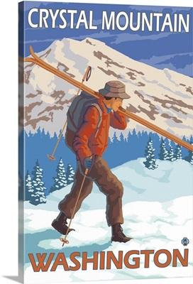 Skier Carrying Snow Skis - Crystal Mountain, Washinoton: Retro Travel Poster