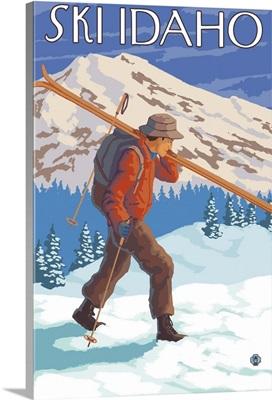 Skier Carrying Snow Skis - Idaho: Retro Travel Poster
