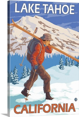 Skier Carrying Snow Skis - Lake Tahoe, California: Retro Travel Poster