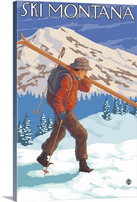 Skier Carrying Snow Skis - Montana: Retro Travel Poster