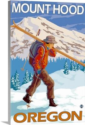 Skier Carrying Snow Skis - Mount Hood, Oregon: Retro Travel Poster