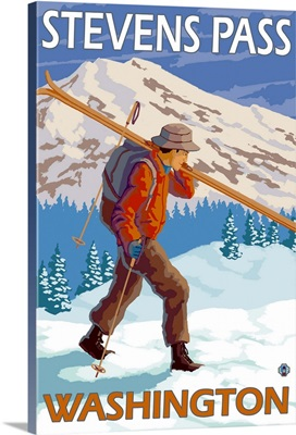 Skier Carrying Snow Skis - Stevens Pass, Washington: Retro Travel Poster
