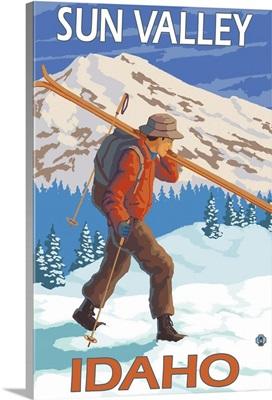 Skier Carrying Snow Skis - Sun Valley, Idaho: Retro Travel Poster