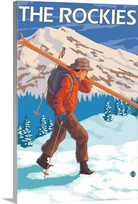 Skier Carrying Snow Skis - The Rockies: Retro Travel Poster