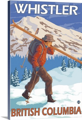 Skier Carrying Snow Skis - Whistler, BC Canada: Retro Travel Poster