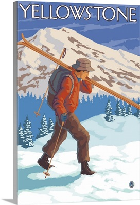 Skier Carrying Snow Skis - Yellowstone National Park: Retro Travel Poster