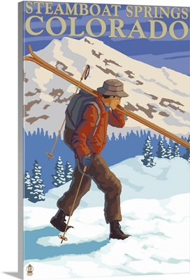 Skier Carrying - Steamboat Springs, Colorado: Retro Travel Poster