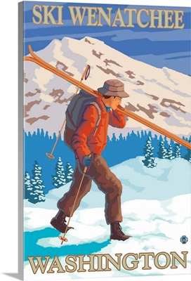Skier Carrying - Wenatchee, WA: Retro Travel Poster