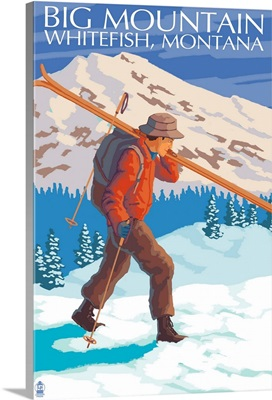 Skier Carrying - Whitefish, Montana - Snowboarder Jumping: Retro Travel Poster