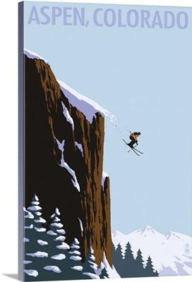 Skier Jumping - Aspen, Colorado: Retro Travel Poster