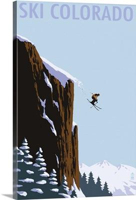 Skier Jumping - Colorado: Retro Travel Poster