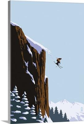 Skier Jumping: Retro Poster Art