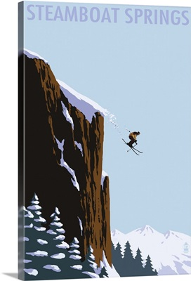 Skier Jumping - Steamboat Springs, Colorado: Retro Travel Poster
