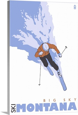 Skier Stylized - Big Sky, Montana: Retro Travel Poster