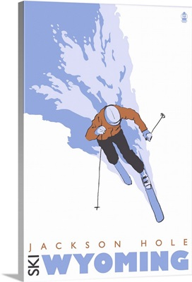 Skier Stylized - Jackson Hole, Wyoming: Retro Travel Poster