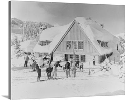 Skiers at the Stevens Pass ski lodge, Seattle, WA