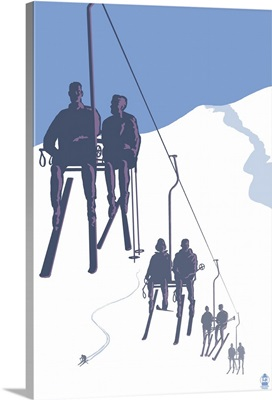 Skiers on Lift: Retro Poster Art