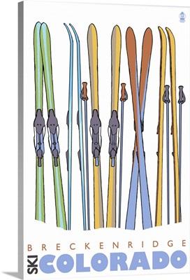 Skis in Snow - Breckenridge, Colorado: Retro Travel Poster